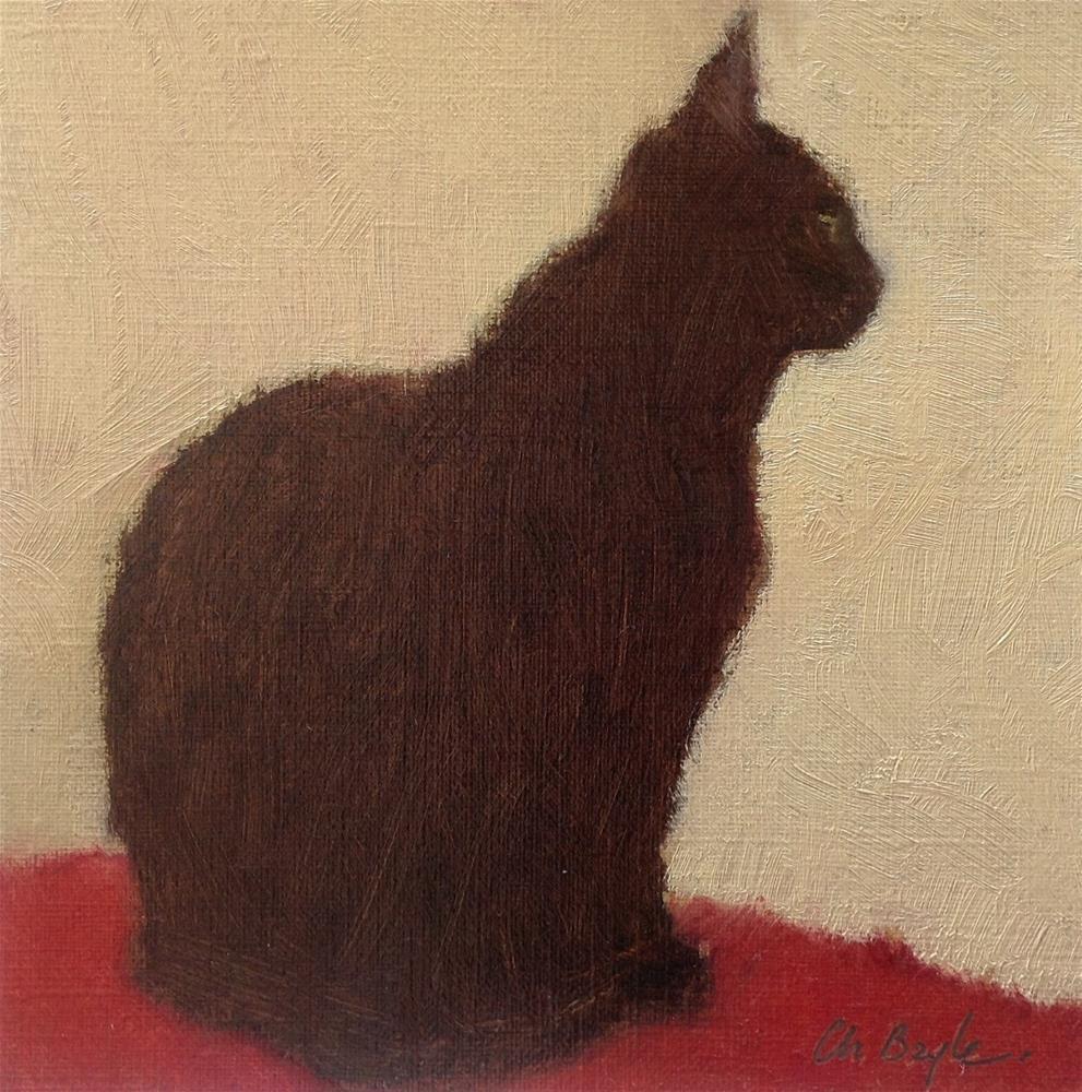 """Le chatt noir"" original fine art by Christine Bayle"