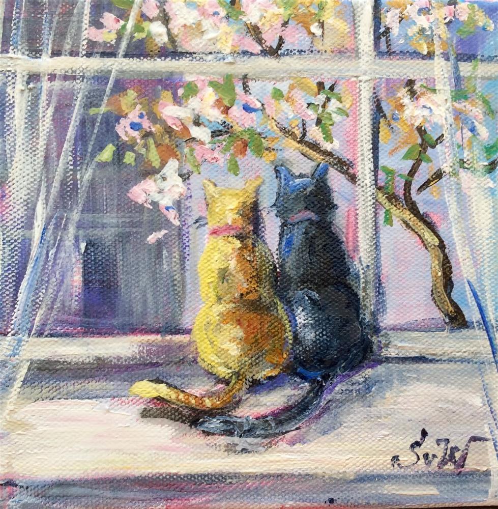 """""""Meow!Spring is here!"""" original fine art by Sonia von Walter"""