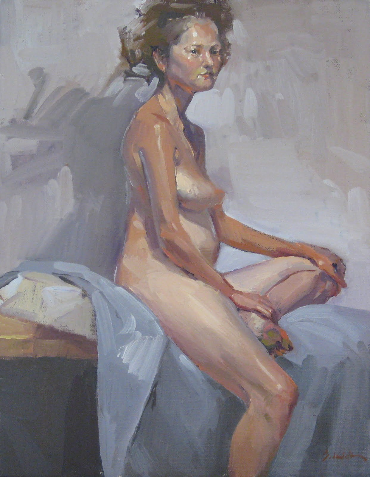 """""""Rebecca and Her Shadow - Nude Figure Painting - and Blog Giveaway!"""" original fine art by Sarah Sedwick"""