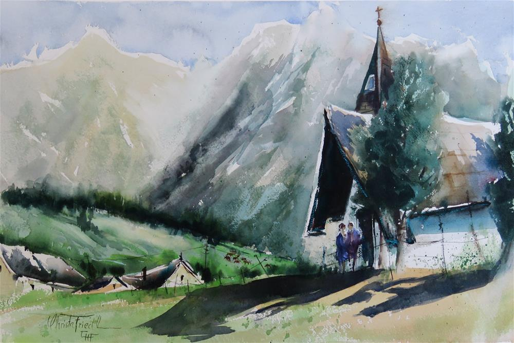 """Walderalm Tyrol"" original fine art by Christa Friedl"