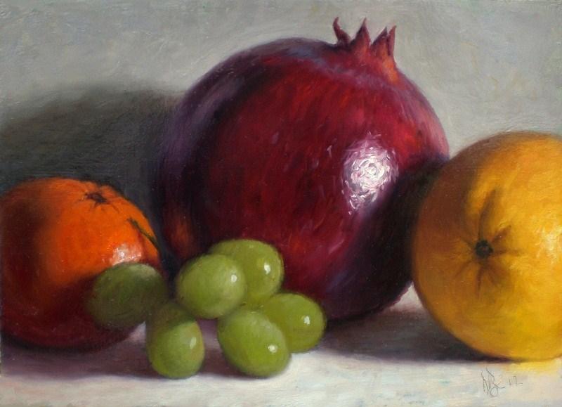 """Pomegranate and Fruit"" original fine art by Debra Becks Cooper"