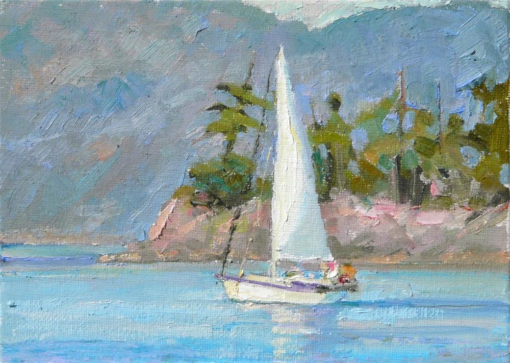 """Sailing on the Sea,seascape,oil on canvas,5x7,price$125"" original fine art by Joy Olney"