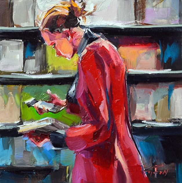 """""""Im Buchladen"""" original fine art by Jurij Frey"""