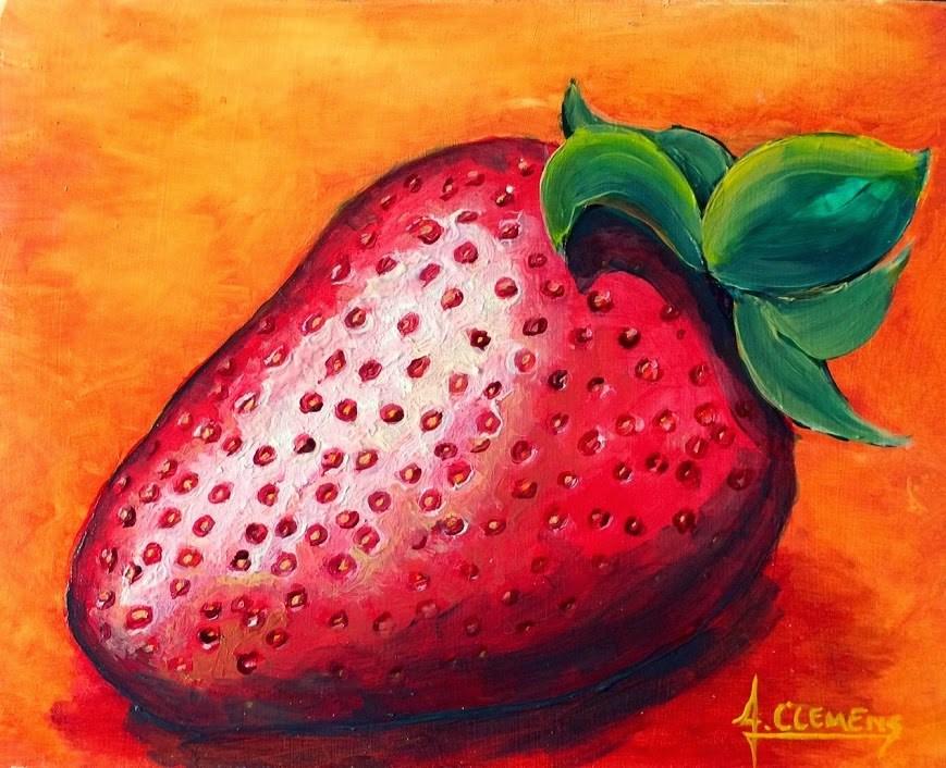 """strawberry"" original fine art by Jolynn Clemens"