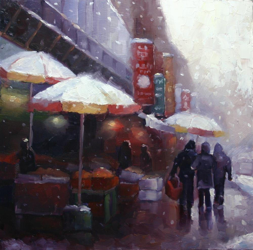 """Snowy Saturday in Chinatown"" original fine art by Catherine Jeffrey"