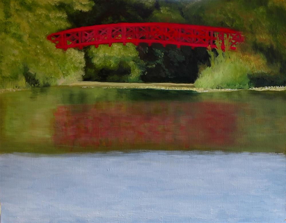"""""""Red Bridge"""" original fine art by C J Schwarz"""
