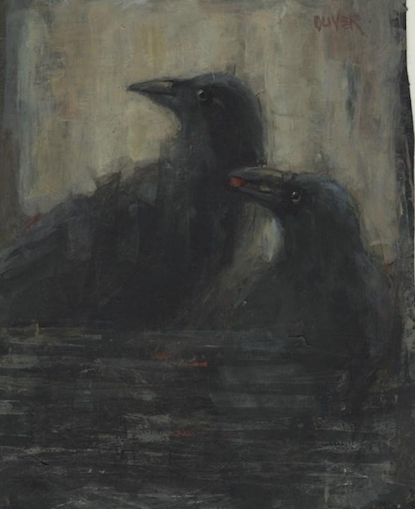 """Edgar & Poe plus Nevermore!"" original fine art by Julie Ford Oliver"