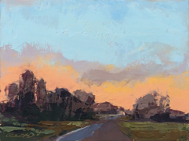 """""""Minervaville, Early Evening, Winter"""" original fine art by Mary Gilkerson"""