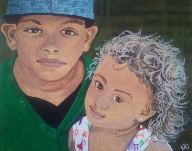 """""""Tammy's Grandkids"""" original fine art by Kathleen Carrier"""