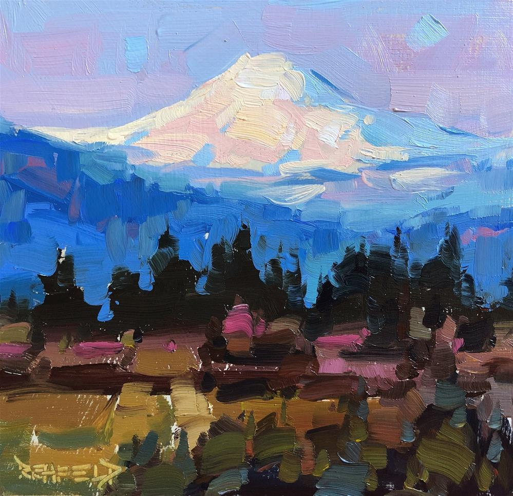 """Mt Adams Twilight Alpenglow"" original fine art by Cathleen Rehfeld"