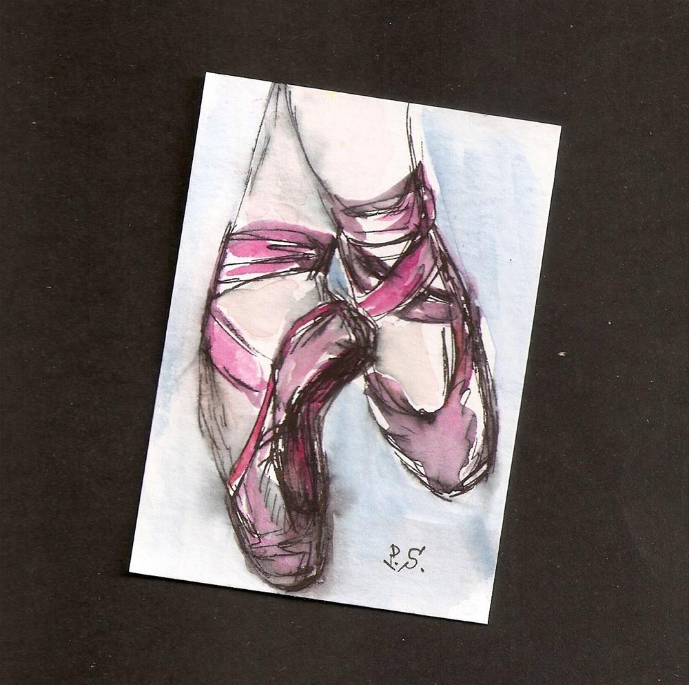 """ACEO Pink Ballet Slippers Shoes Dance Loose Watercolor Painting Penny StewArt"" original fine art by Penny Lee StewArt"