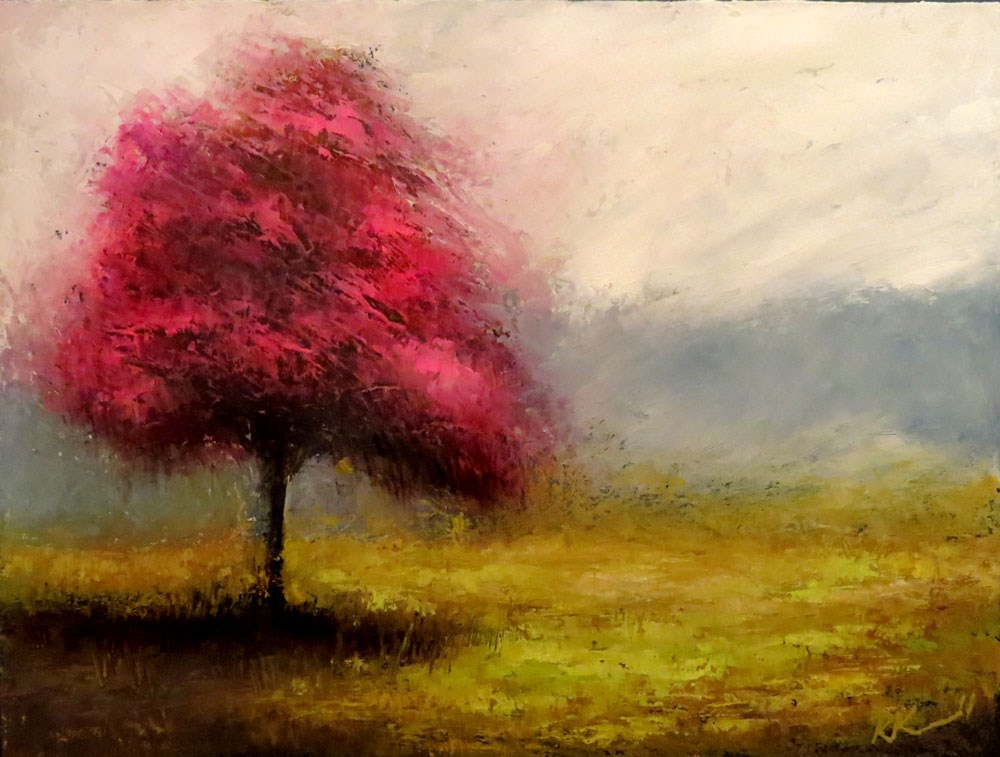 """A Red-bud Tree"" original fine art by Bob Kimball"