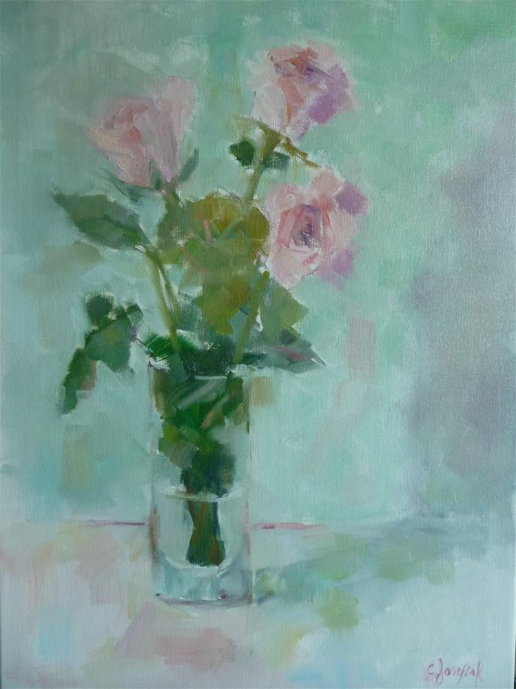 """Pink roses 2"" original fine art by Carol Josefiak"
