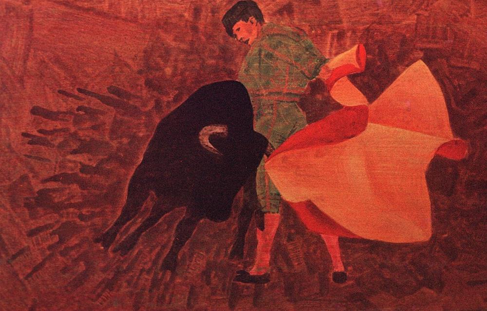 """283 BULL FIGHTER"" original fine art by Trevor Downes"