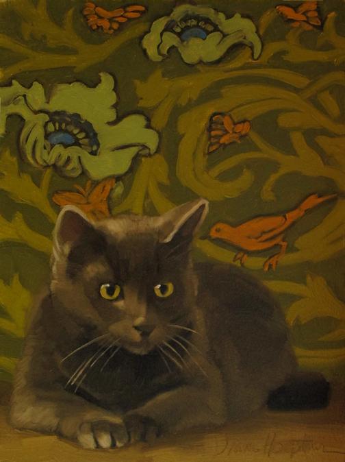 """The Secret bird whispers to gray cat painting"" original fine art by Diane Hoeptner"