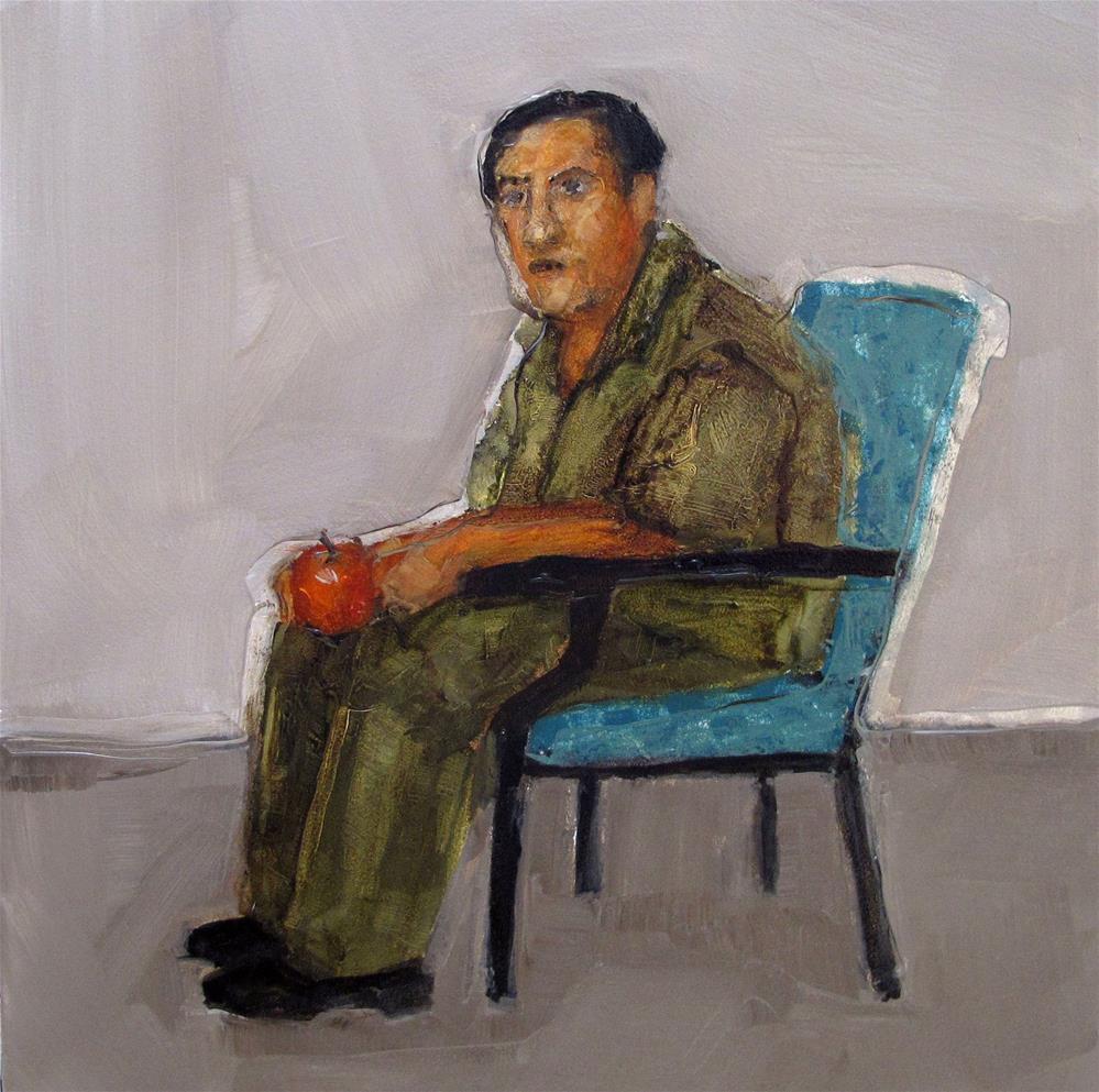 """AN APPLE A DAY Original ABSTRACT FIGURE Art Painting OIL"" original fine art by Colette Davis"