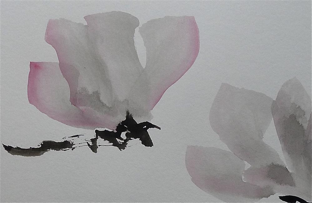 """One and a half Magnolia blossom"" original fine art by Ulrike Schmidt"