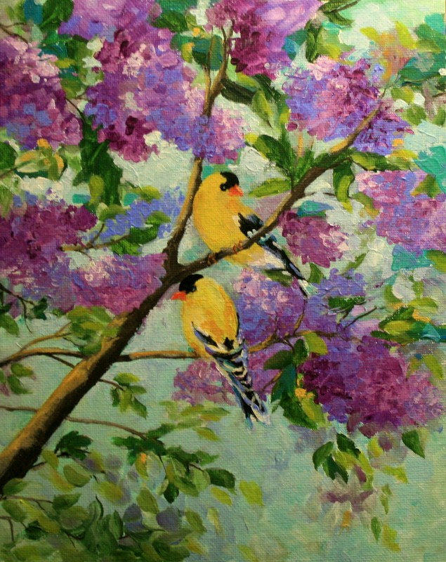 """Goldfinch and Lilacs"" original fine art by Jean Nelson"