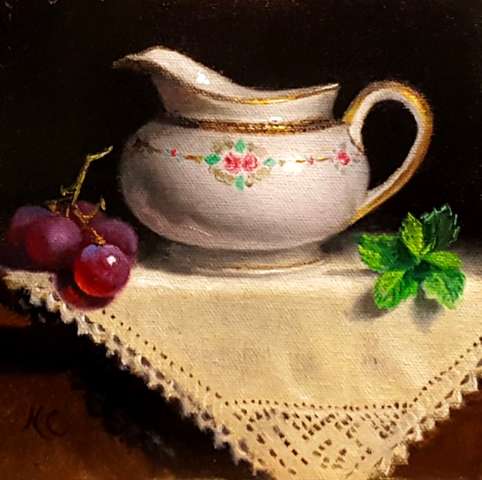 """Still Life with Milk-jug, grapes and mint"" original fine art by Natalia Clarke"