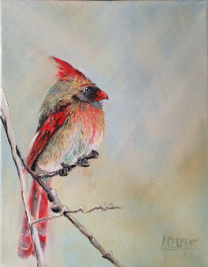 """Female Cardinal"" original fine art by Jolynn Clemens"