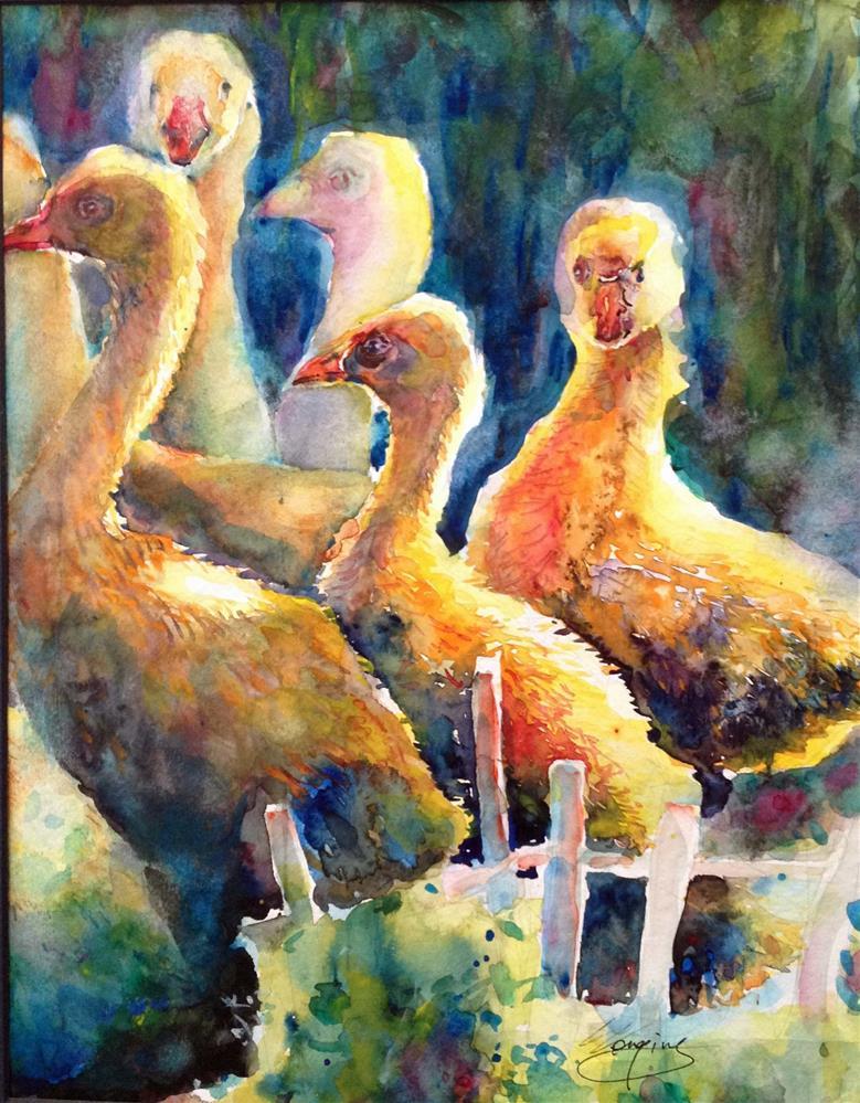 """""""Geese"""" original fine art by Wenqing Xu"""