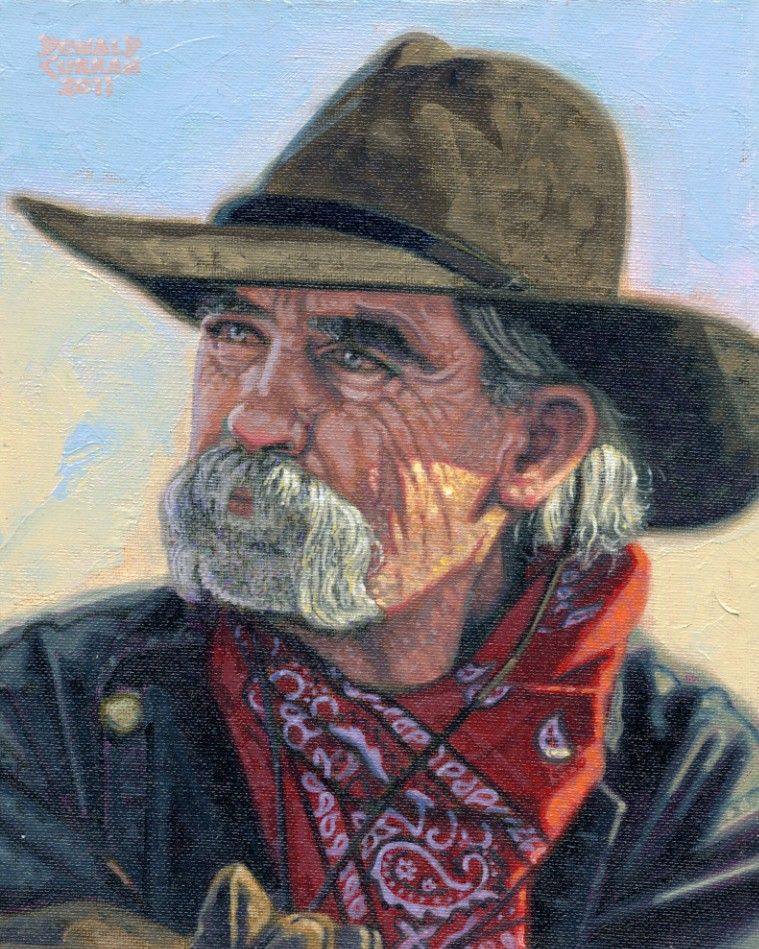 """The Old Cowboy"" original fine art by Donald Curran"