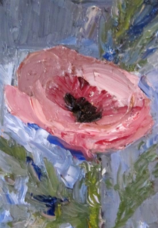 """Pink Poppy"" original fine art by Delilah Smith"