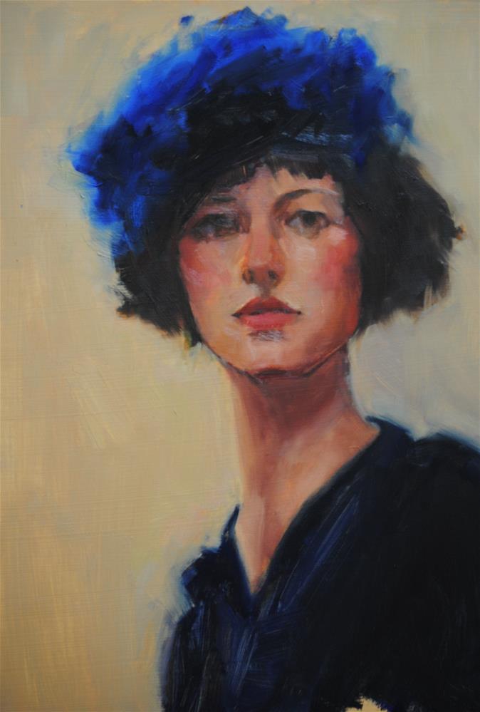 """""""Le Chapeau Bleu"""" original fine art by Laurie Johnson Lepkowska"""