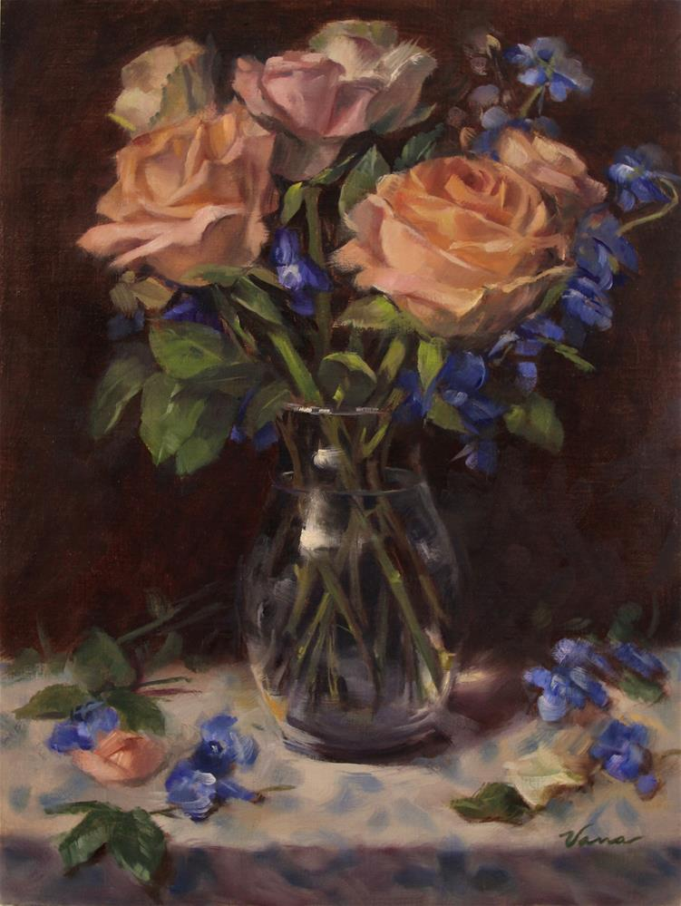 """""""Roses and Delphiniums"""" original fine art by Vana Meyers"""