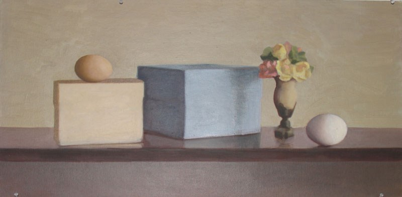 """""""Two Boxes, Vase and Two Eggs"""" original fine art by Megan Schembre"""