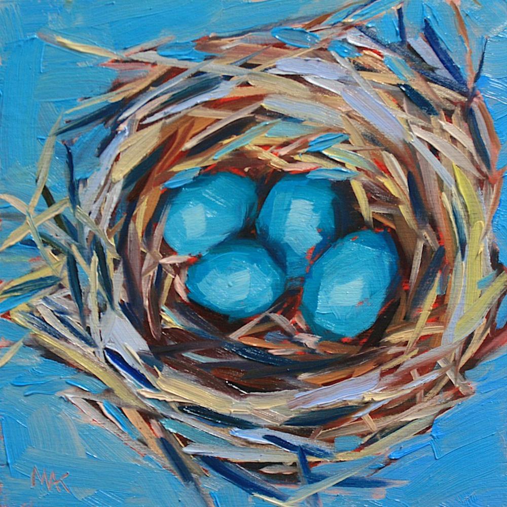 """Robin Eggs"" original fine art by Mary Anne Cary"