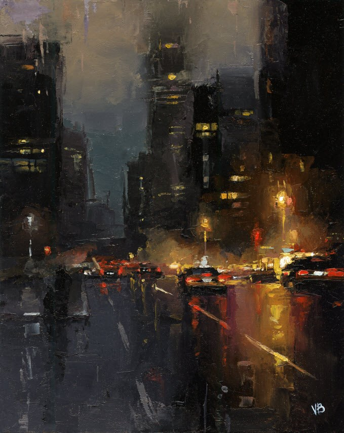 """A Night in NYC"" original fine art by Victor Bauer"