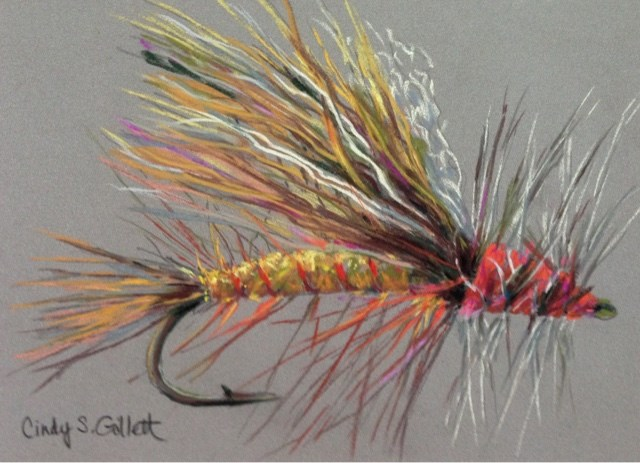 """Fly 20 - Yellow Sally Stonefly"" original fine art by Cindy Gillett"