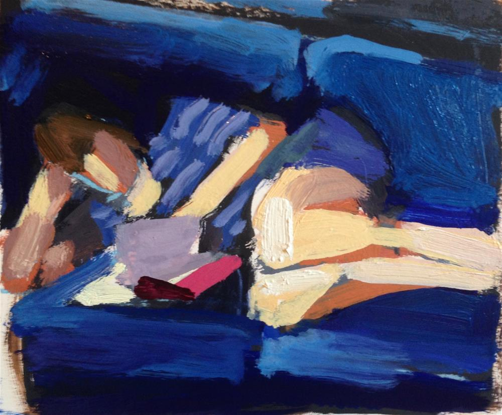"""Reading On Blue Velvet"" original fine art by Pamela Hoffmeister"