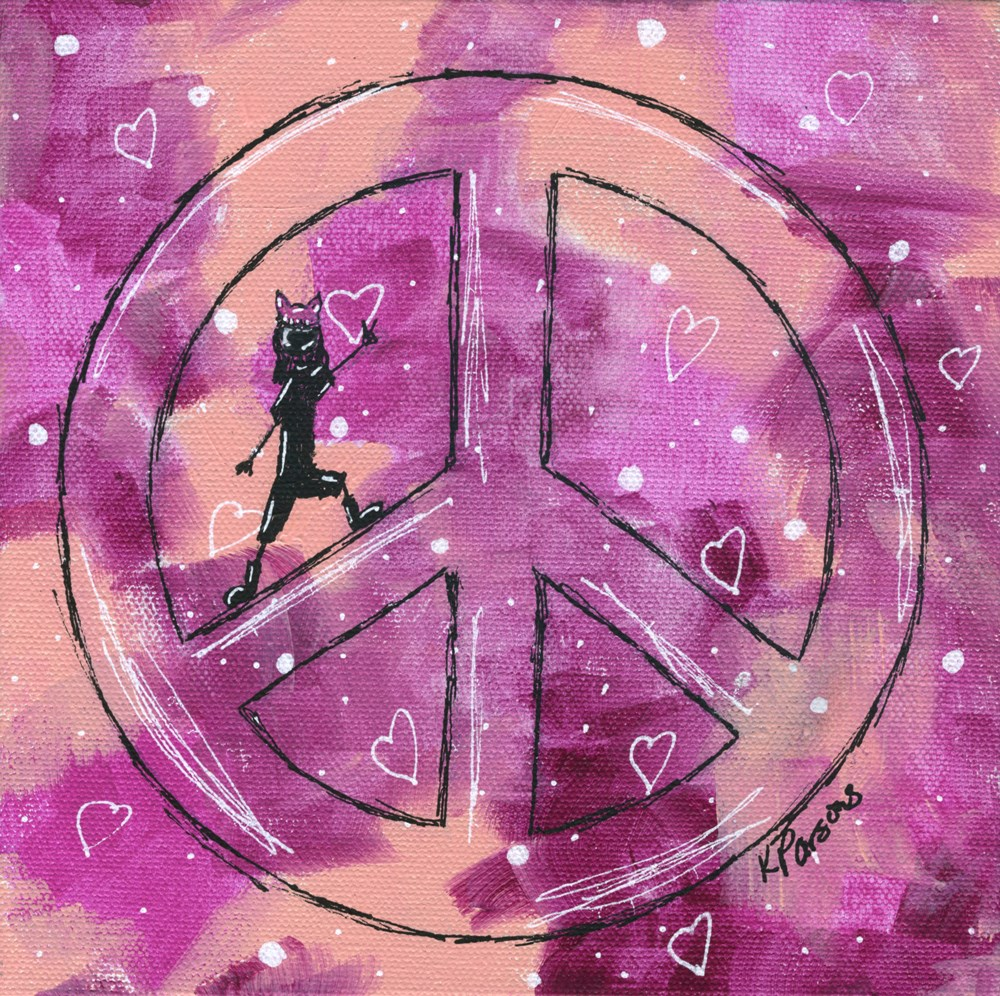 """Peace, Love, and Pussyhats 1"" original fine art by Kali Parsons"