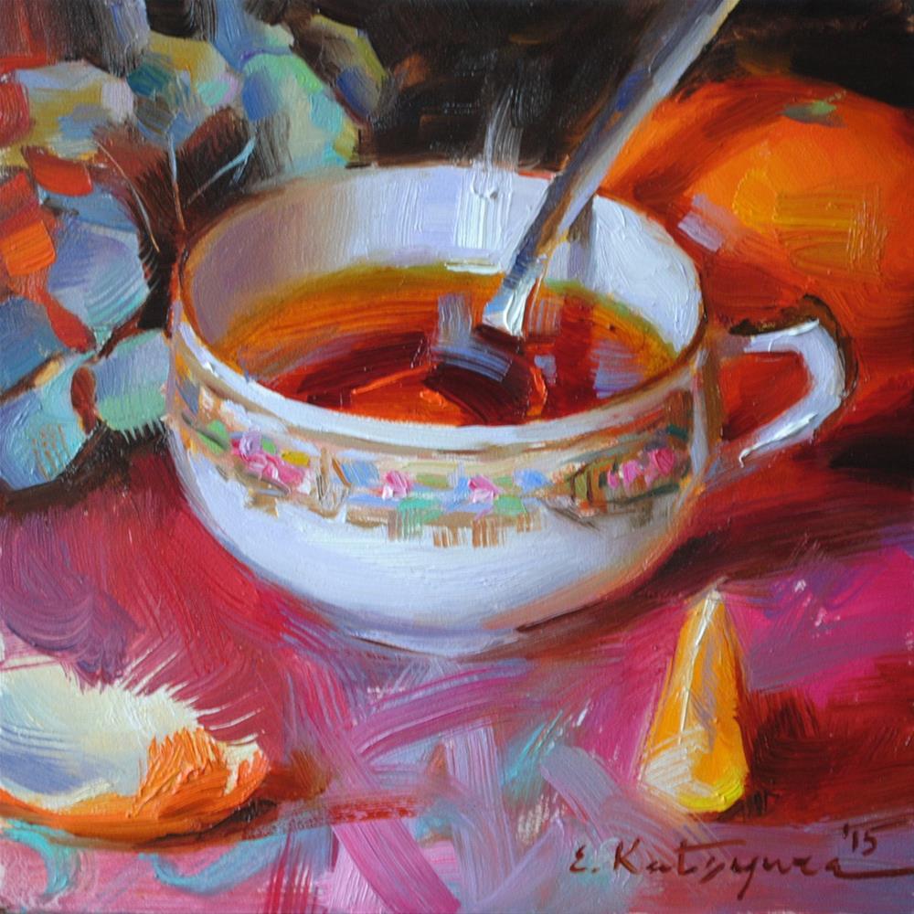 """""""Tea and Mandarin"""" original fine art by Elena Katsyura"""