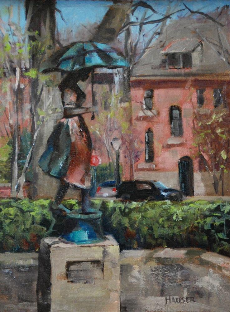 """The Girl with the Umbrella"" original fine art by Alice Hauser"