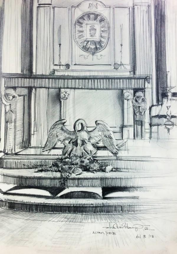 """""""The Altar Piece, Convent Chapel, York"""" original fine art by Adebanji Alade"""