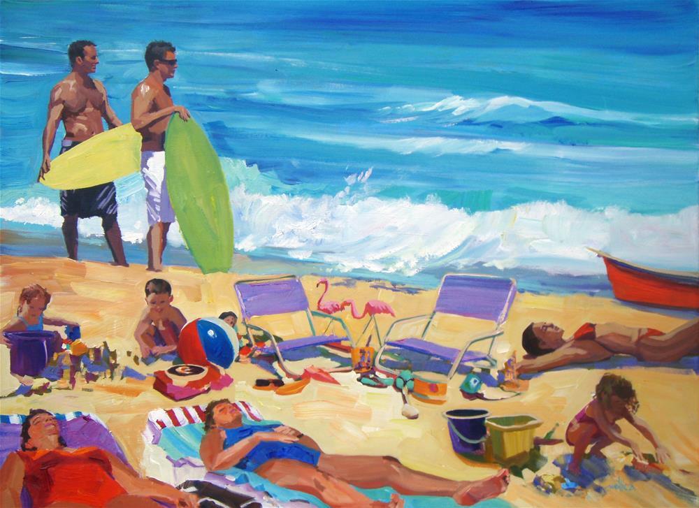 """""""Beach Scene Commission"""" original fine art by Patti Mollica"""