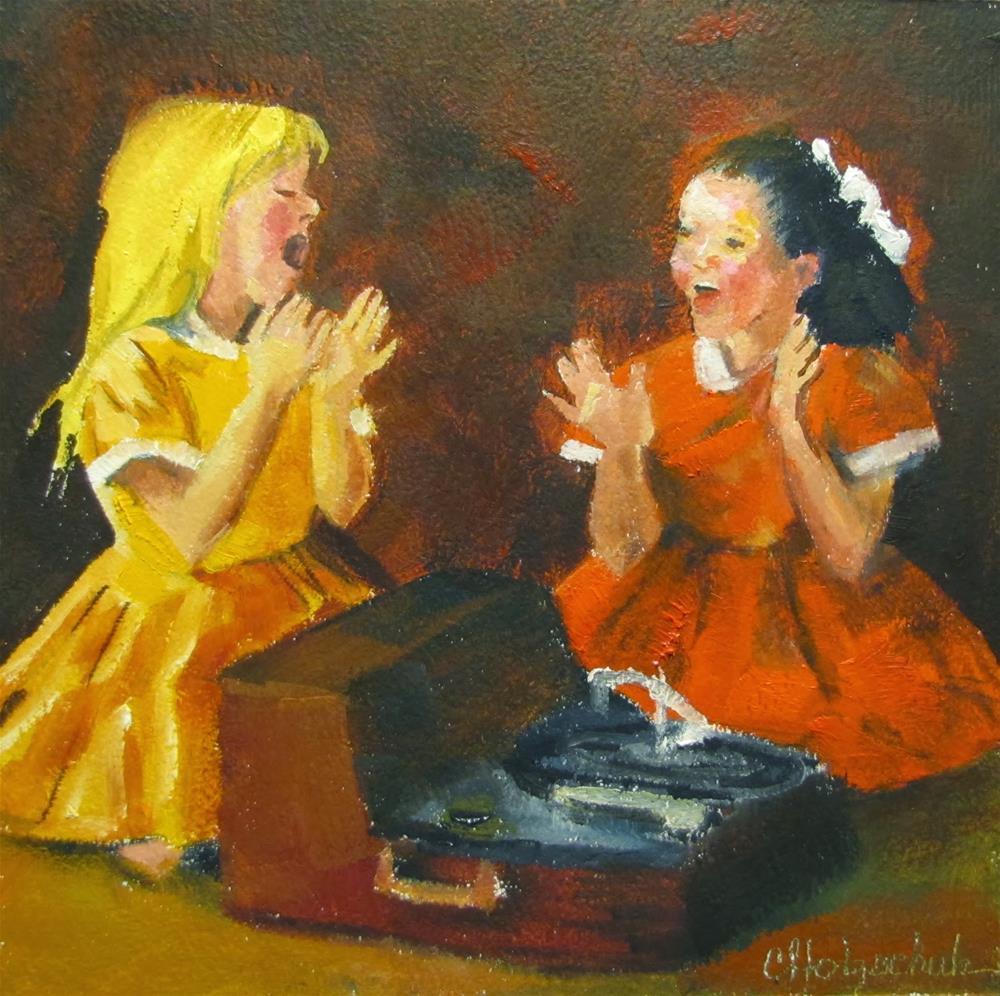 """Entertainment8x8"" original fine art by Christine Holzschuh"