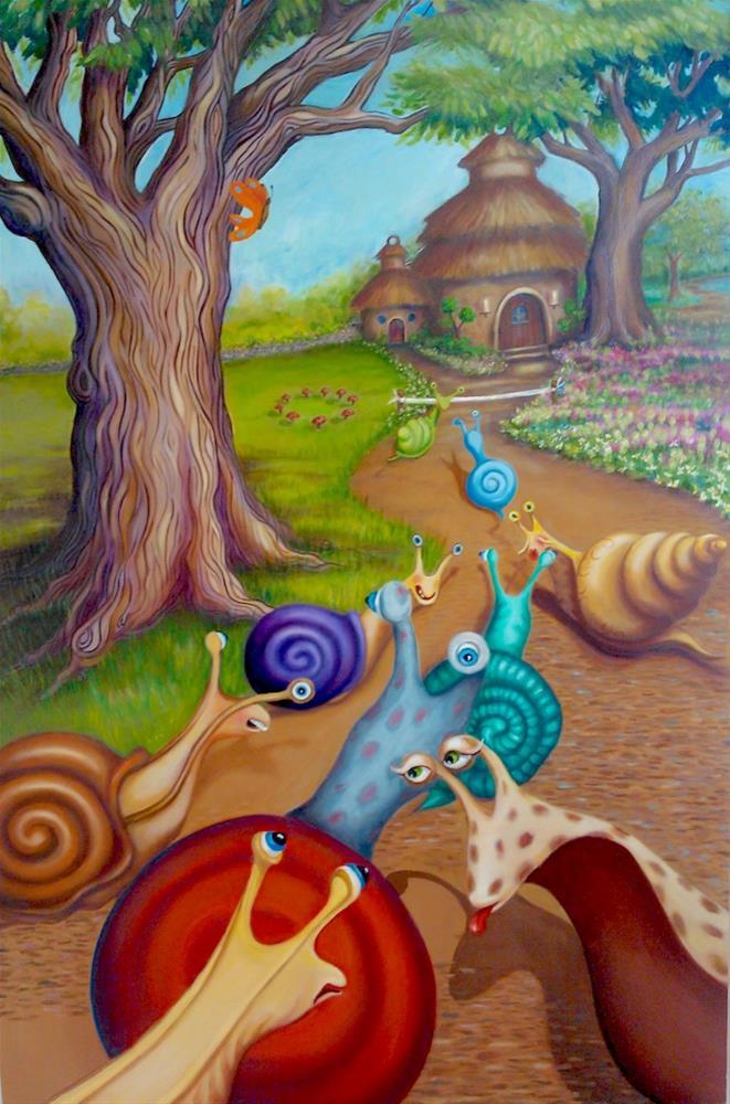 """""""Great Snail Race"""" original fine art by Joetta Currie"""
