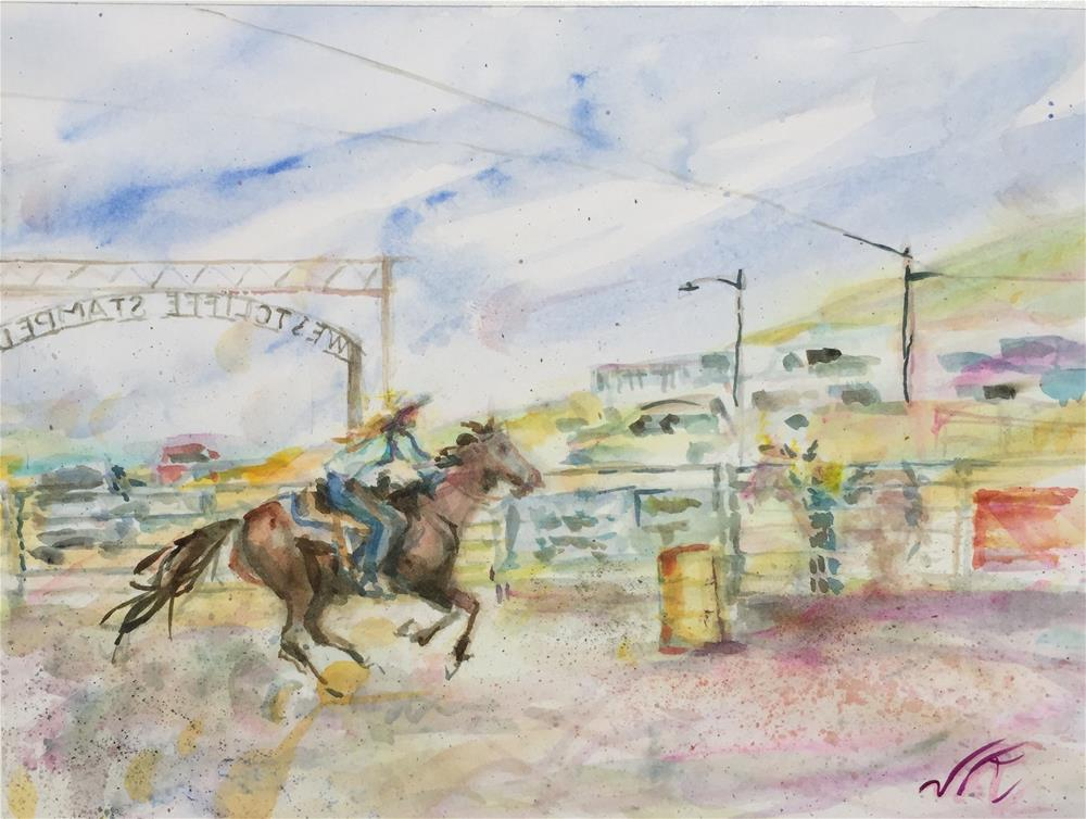 """""""Barrell Racing"""" original fine art by Jean Krueger"""