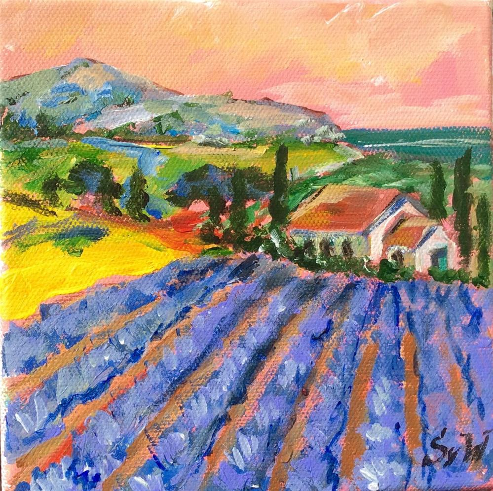 """Sunset in Provence Painting"" original fine art by Sonia von Walter"