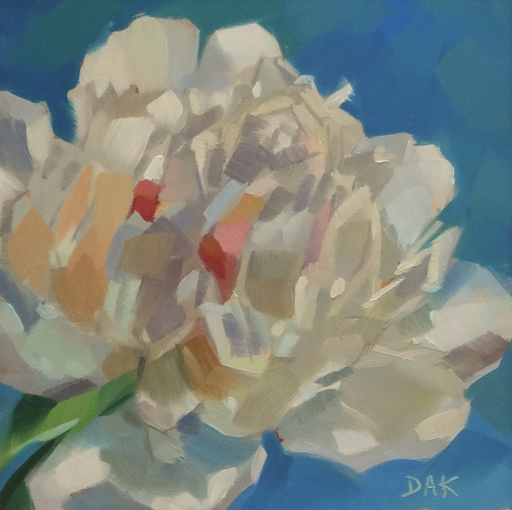 """Single Peony"" original fine art by Deborah Ann Kirkeeide"