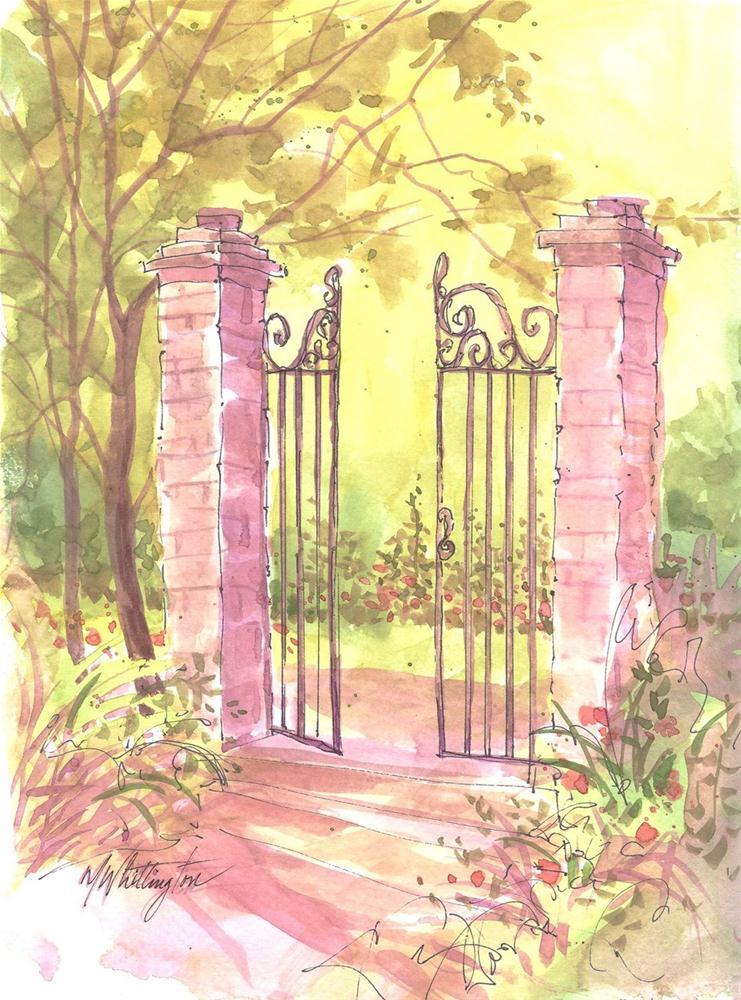 """""""Garden Gate"""" original fine art by Margie Whittington"""