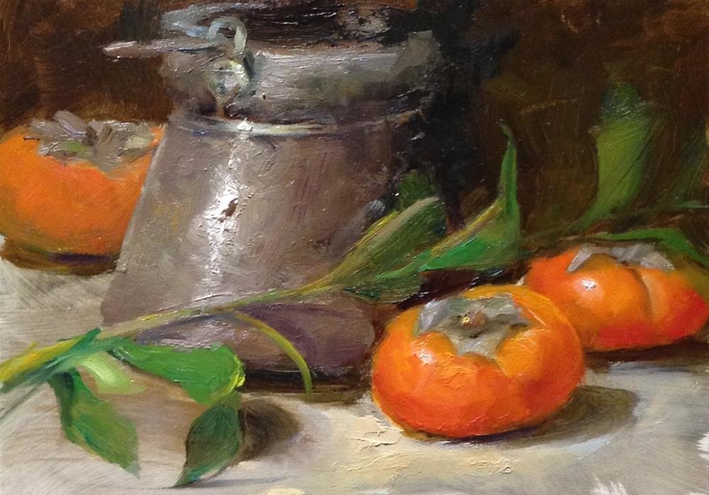 """Persimmons and Paint Can"" original fine art by Dorothy Woolbright"
