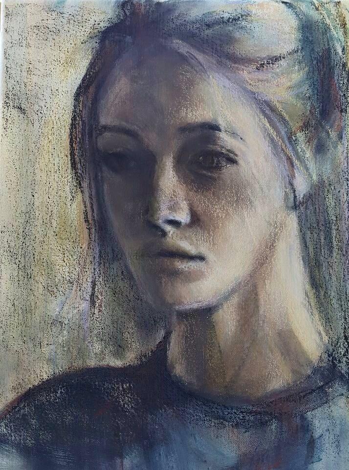 """Portrait in mixed media"" original fine art by Rentia Coetzee"