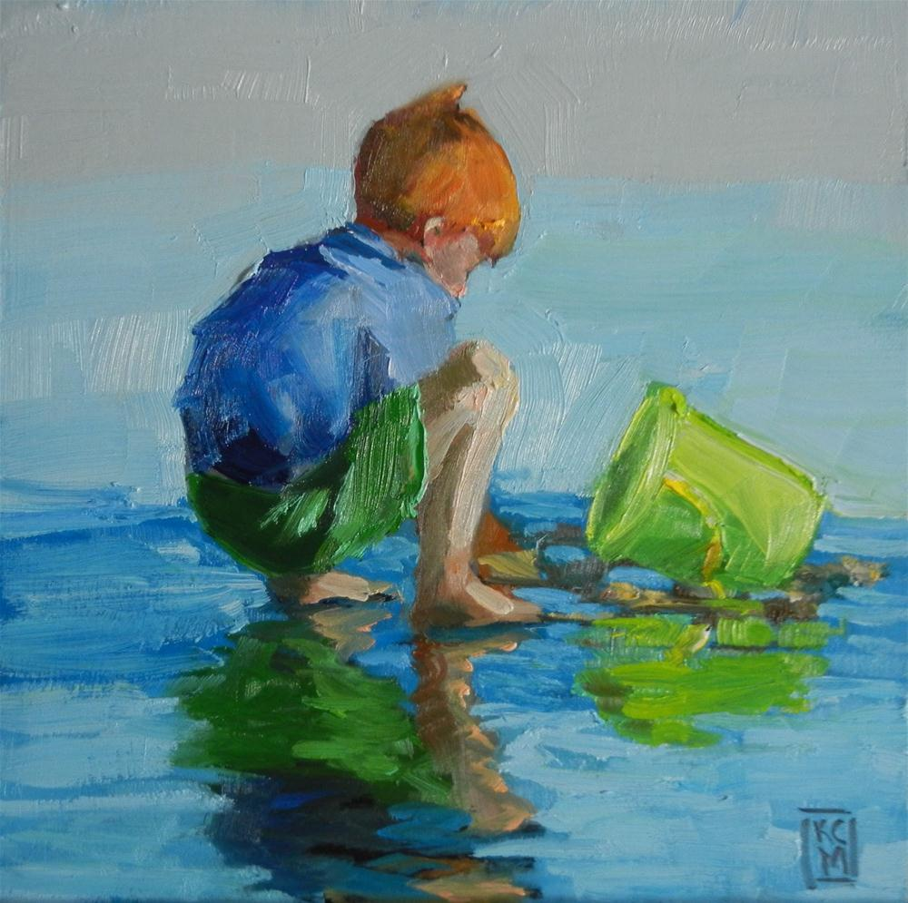 """Beach Boy, 6x6 Inch Oil Painting"" original fine art by Kelley MacDonald"