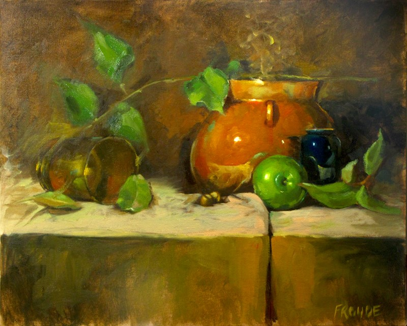 """Apple with brown pot"" original fine art by Dave Froude"