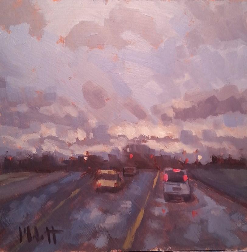 """Driving Rain Contemporary Impressionism Original Oil Painting"" original fine art by Heidi Malott"